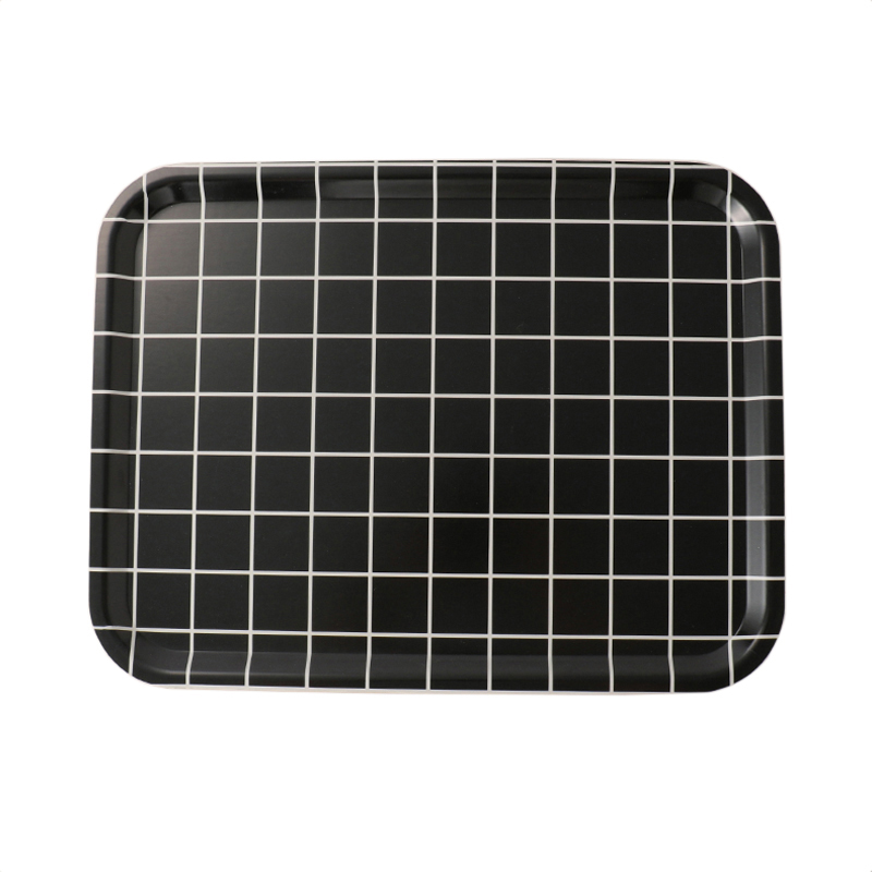 CHECK MONOCHROME L.BLACK RECT TRAY 34X46