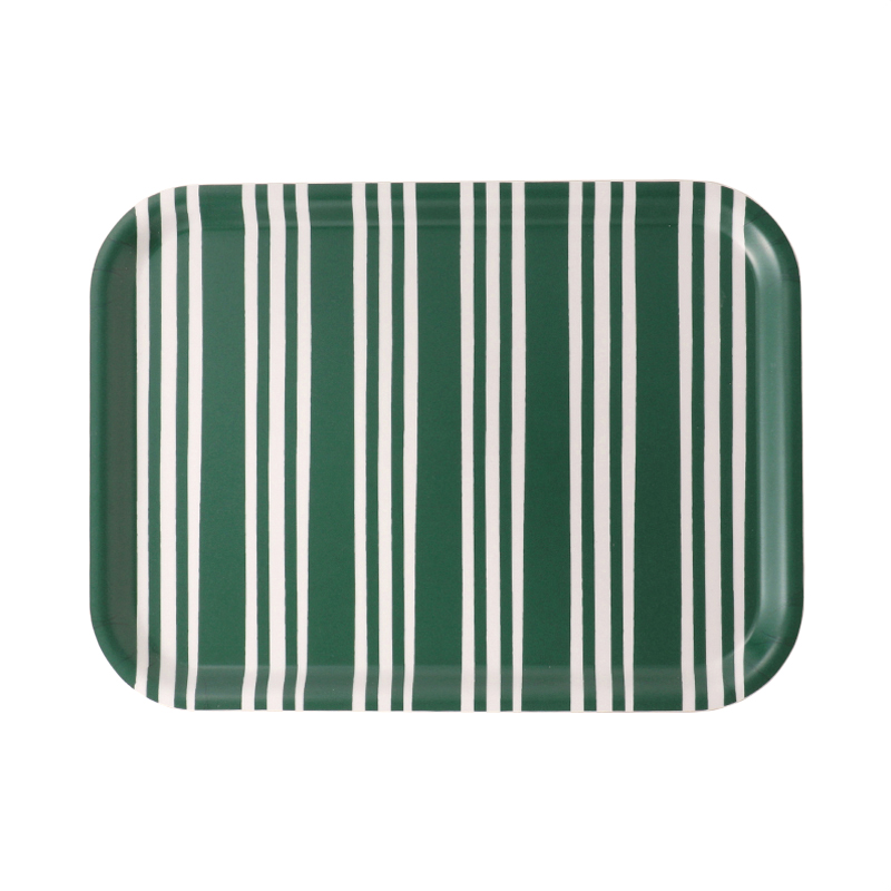 BOLD STRIPE GREEN SMALL RECT TRAY 27X20