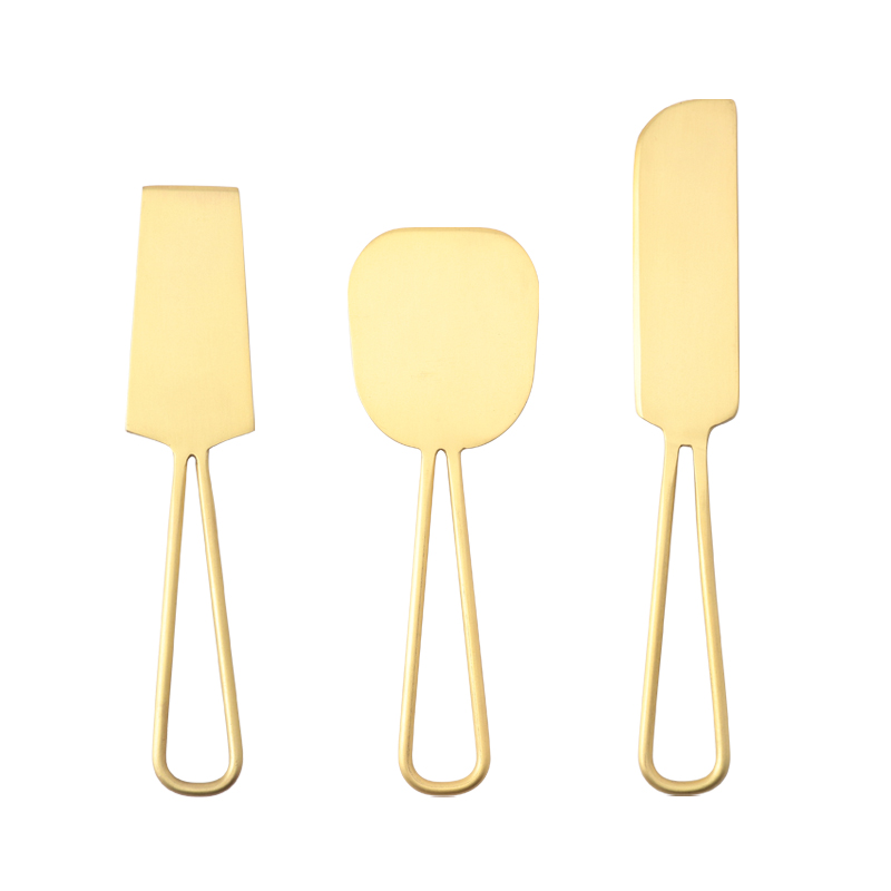 SET OF3 CHEESE KNIVES BRUSHED BRASS