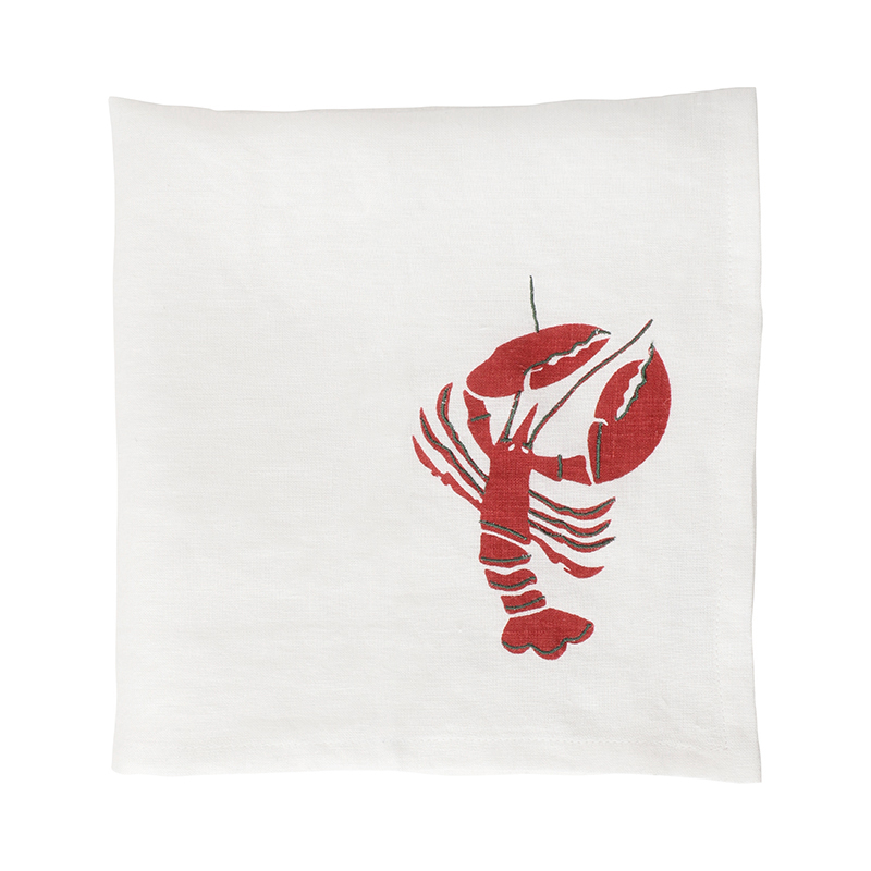 LOBSTER BLOCK PRINT NAPKIN 47X47