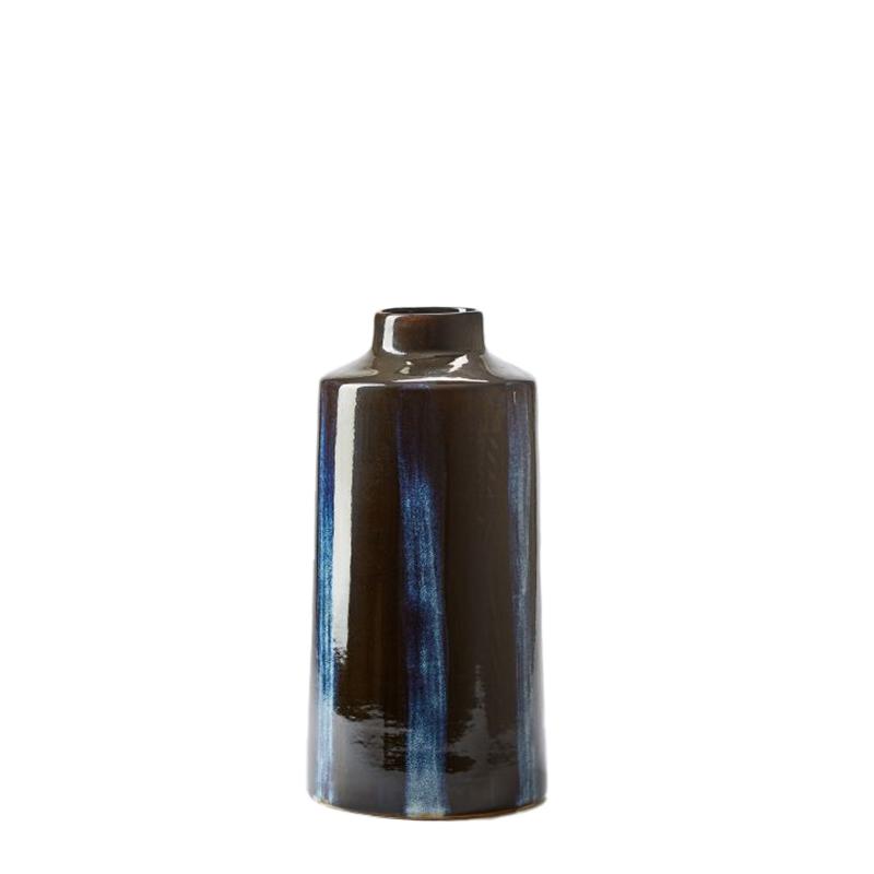 REACTIVE GLAZE VASE IN BLACK&NATURAL