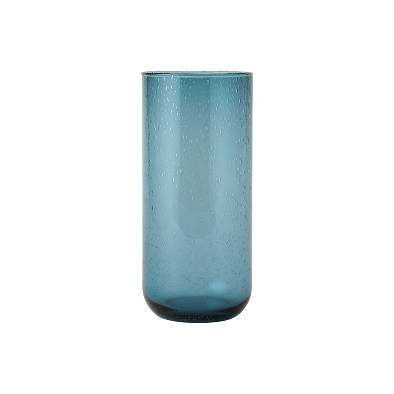 BUBBLE GLASS VASE BLUE 20