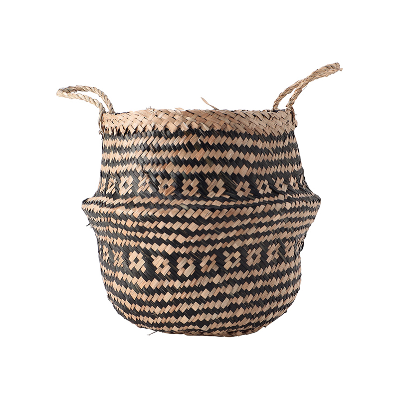 SEAGRASS TRIBAL BLACK LINED BASKET SMALL