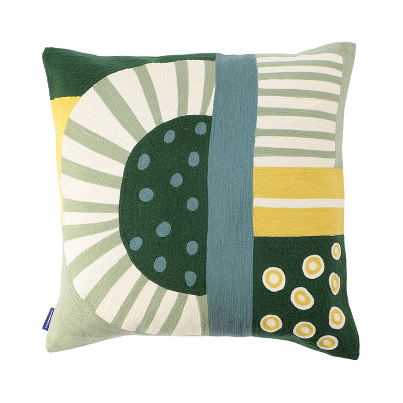 PICO CREWEL EMBROIDERED CC 45X45 YELLOW/GREEN