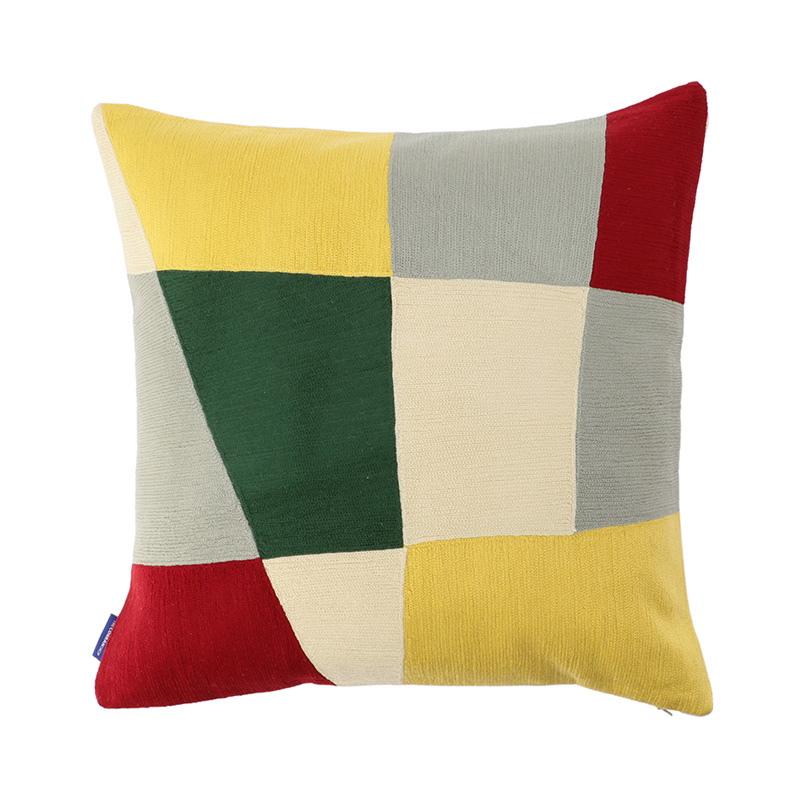 HAUS CREWEL EMBROIDERED CC 45X45 YELLOW/RED