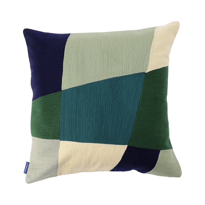 HAUS CREWEL EMBROIDERED CC 45X45 GREEN/BLUE
