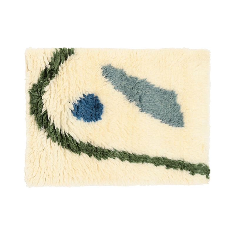 IKIGAI WOOL RUG BLUE/GREEN 50X70