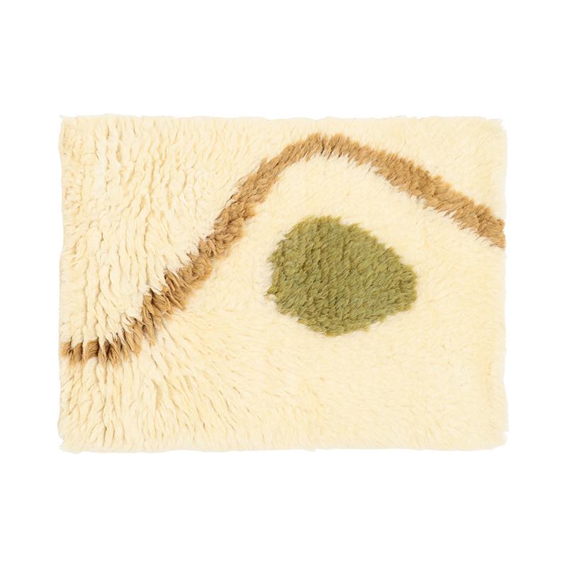 IKIGAI WOOL RUG GREEN/OCHRE 50X70