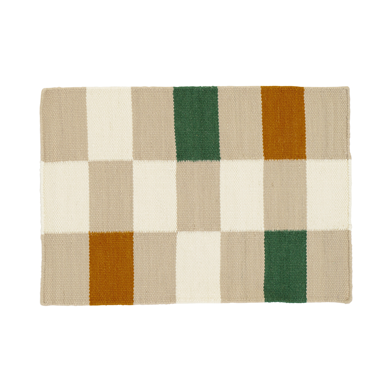 GRID CHECK RUG NATURAL 50X70