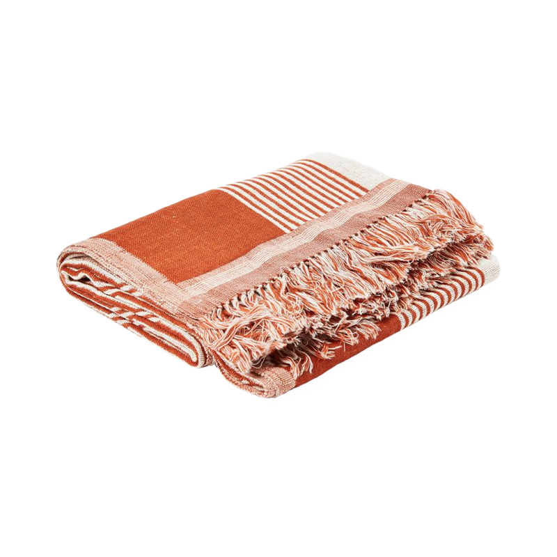 WOVEN IMARI WOOL/SILK THROW RUST/NATURAL