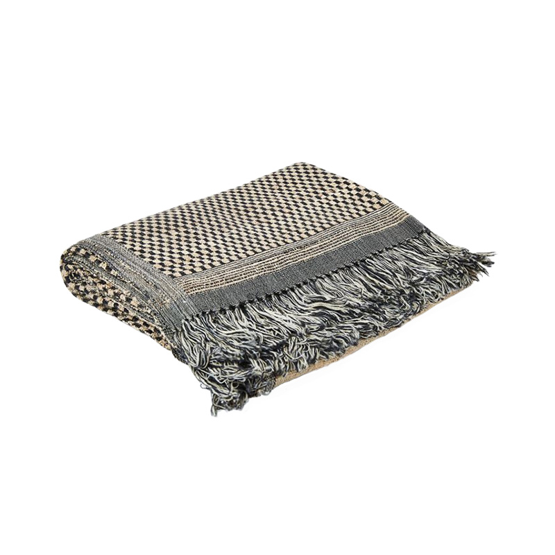 WOVEN WOOL/SILK STRIPE BLOCK THROW BLACK/WHITE