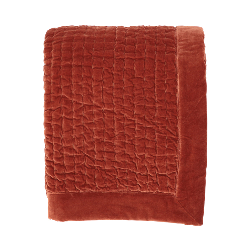 KANTHA VELVET QUILTED THROW PERSIMMON