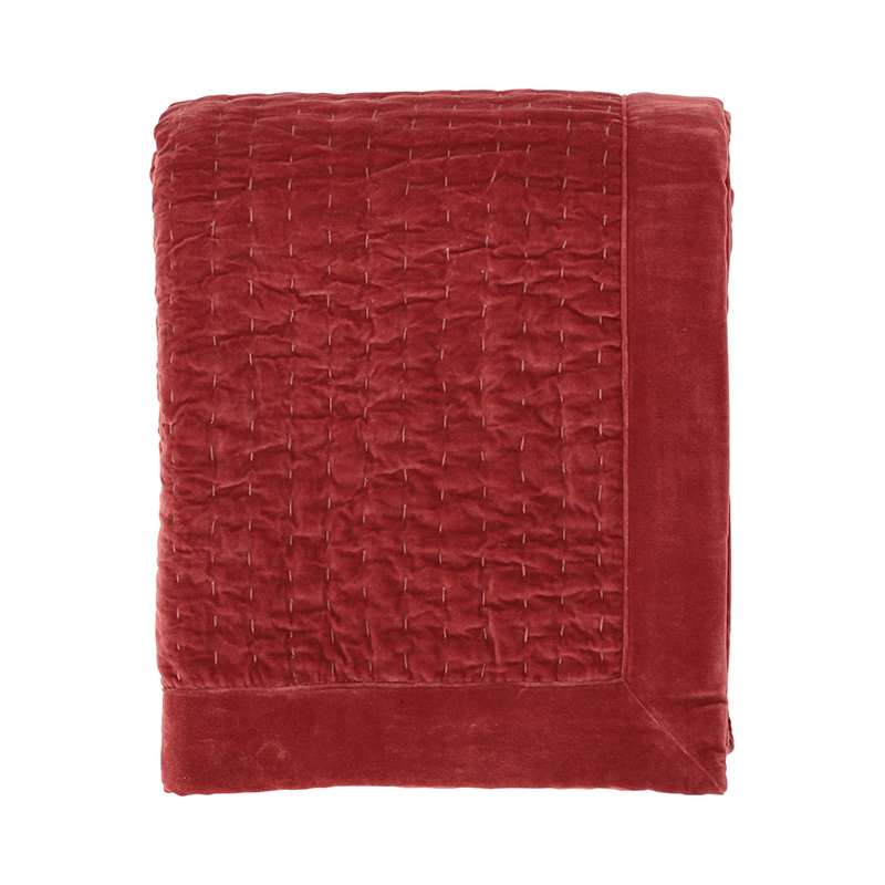 KANTHA VELVET QUILTED THROW PINK