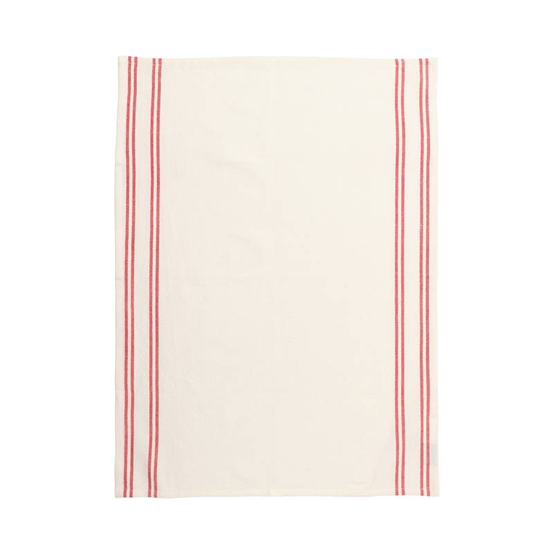 RED WOVEN STRIPE TEA TOWEL 50X70