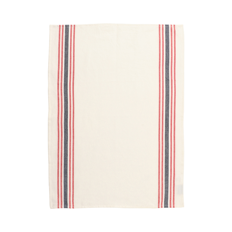 RED & BLUE WOVEN STRIPE TEA TOWEL 50X70
