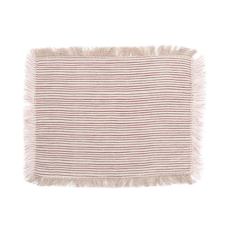 STRIPED LINEN FUSED PLACEMAT RED 30X40