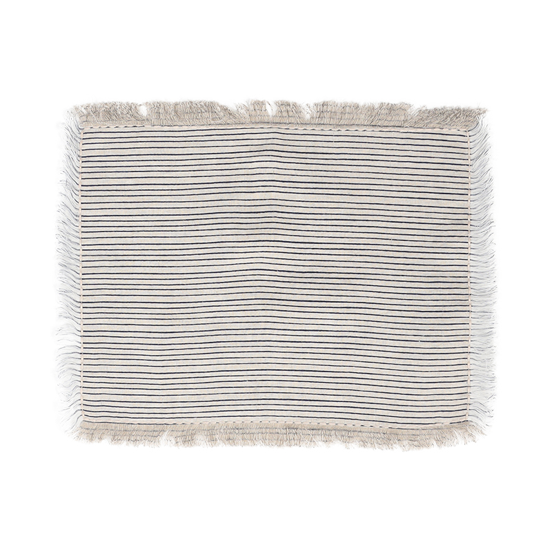 STRIPED LINEN FUSED PLACEMAT BLUE 30X40