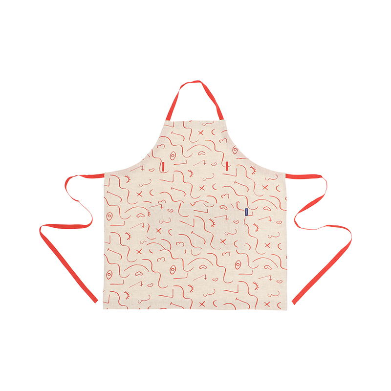 ABSTRACT FACES GRENDADINE LINEN APRON
