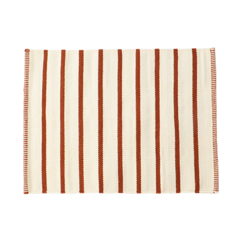 WHITE STRIPE RUG RUST 50X70