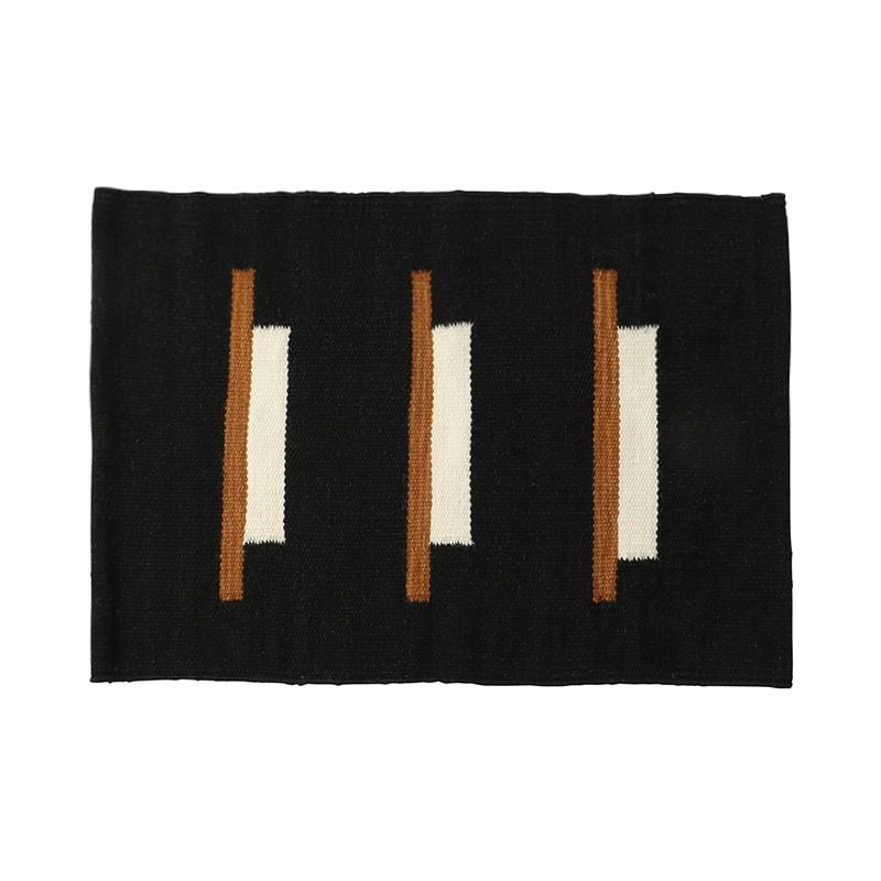 LINES RUG BLACK&NATURAL 50X70
