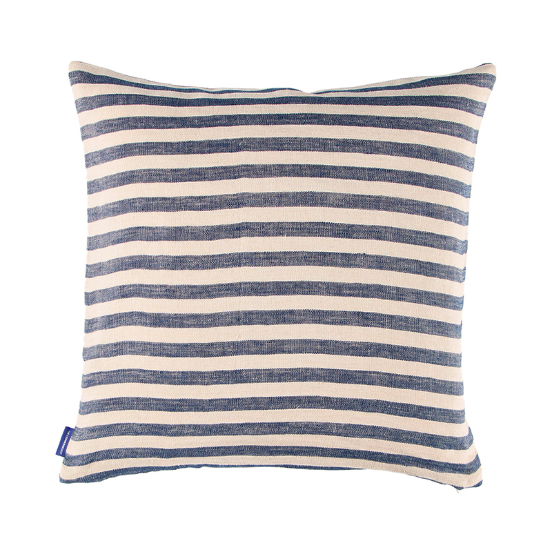 CANDY STRIPE LINEN CUSHION COVER 50X50 DARK NAVY