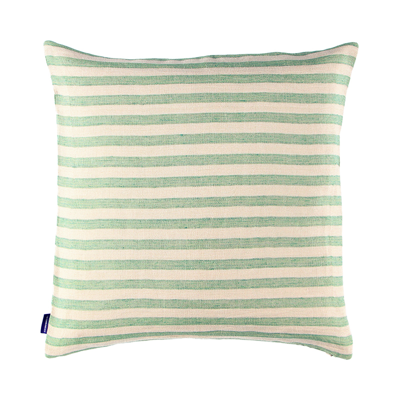 CANDY STRIPE LINEN CUSHION COVER 50X50 MINT GREEN