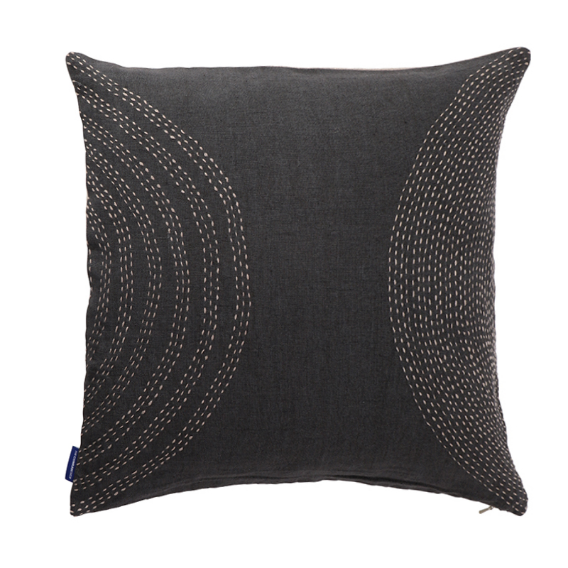 KANTHA GREY TONAL LINEN CUSHION COVER 45X45