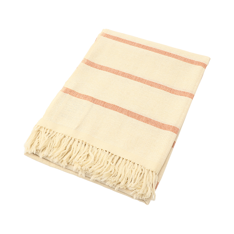 APRICOT ORANGE STRIPE WOOL & SILK THROW