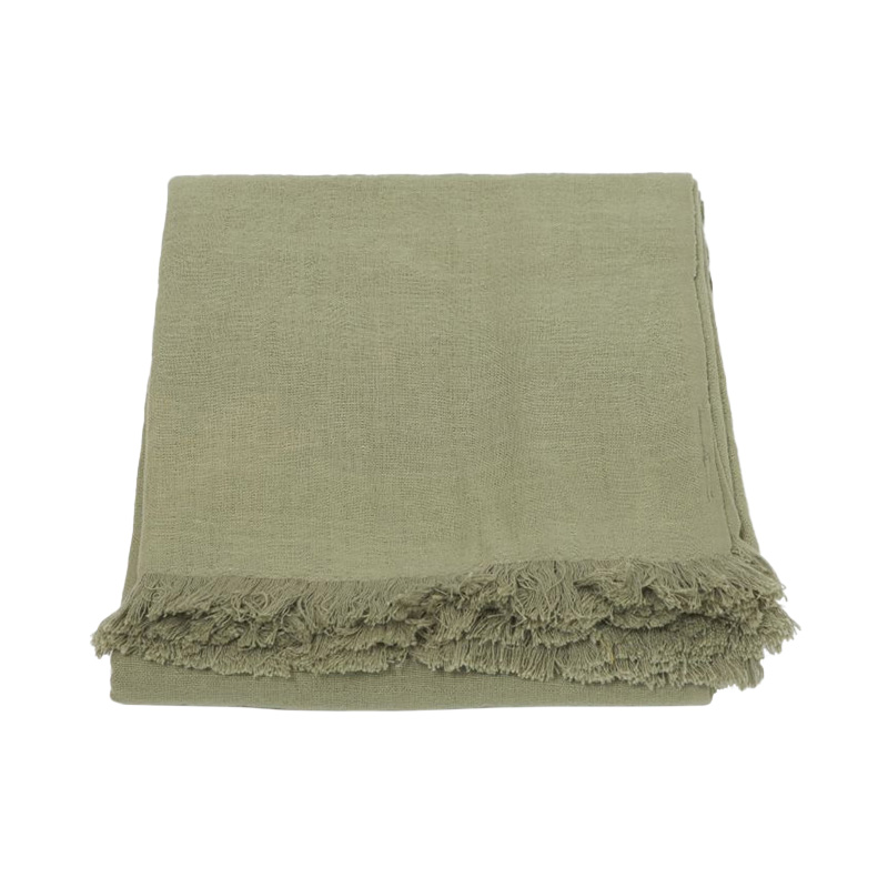 CRINKLE LINEN THROW ICEBERG GREEN