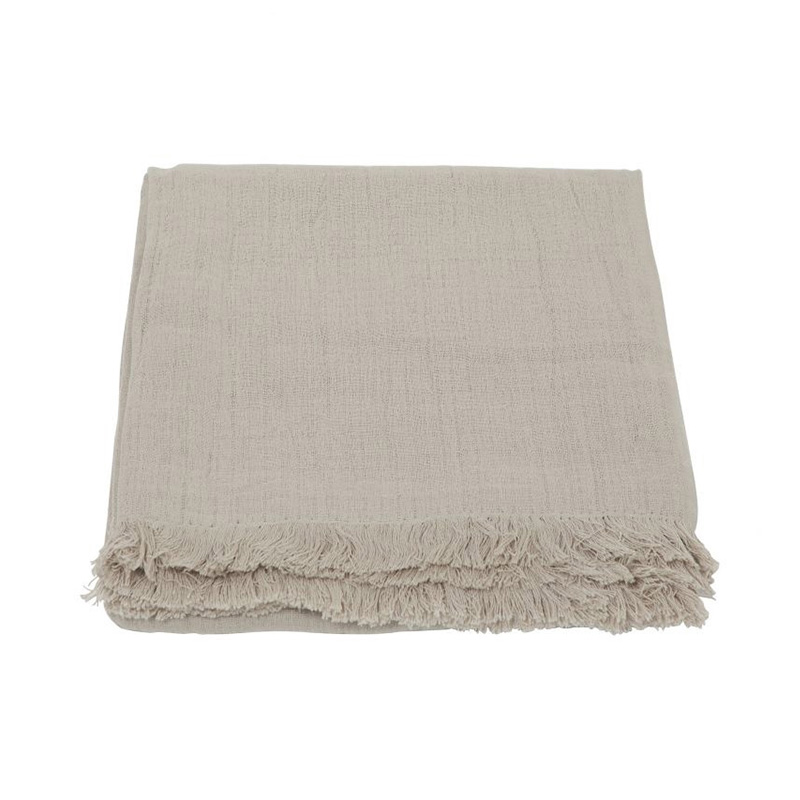 CRINKLE LINEN THROW NATURAL