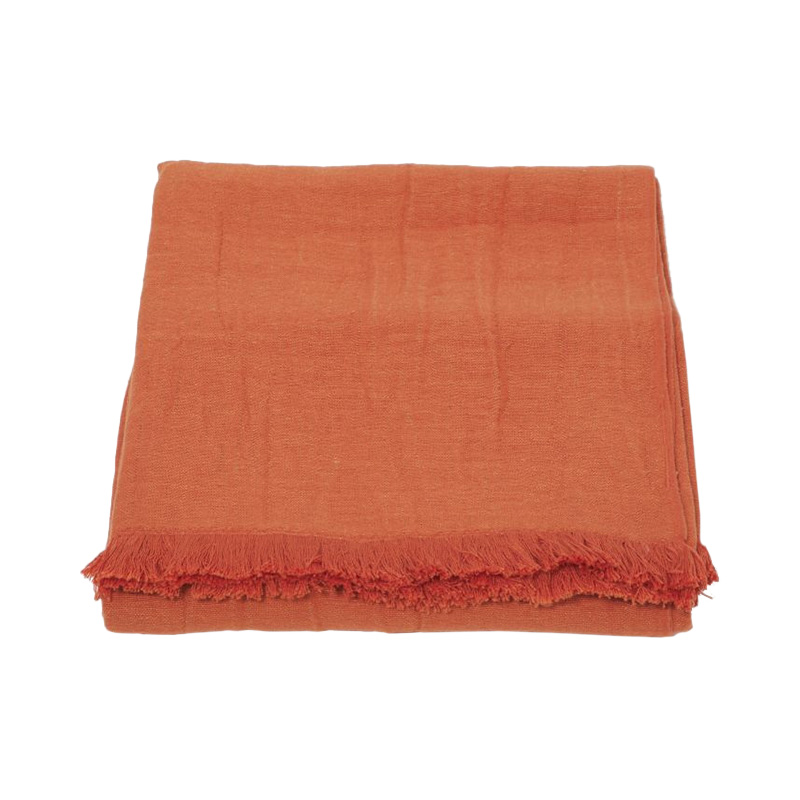 CRINKLE LINEN THROW FLAMINGO
