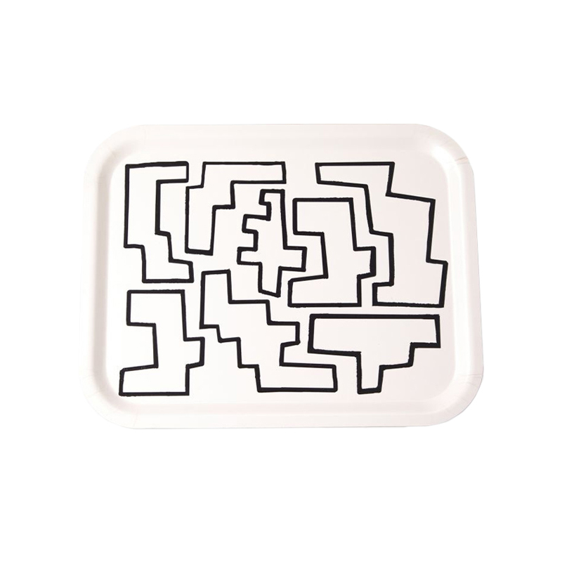 ABSTRACT SHAPES MONOCHROME TRAY M 36X28