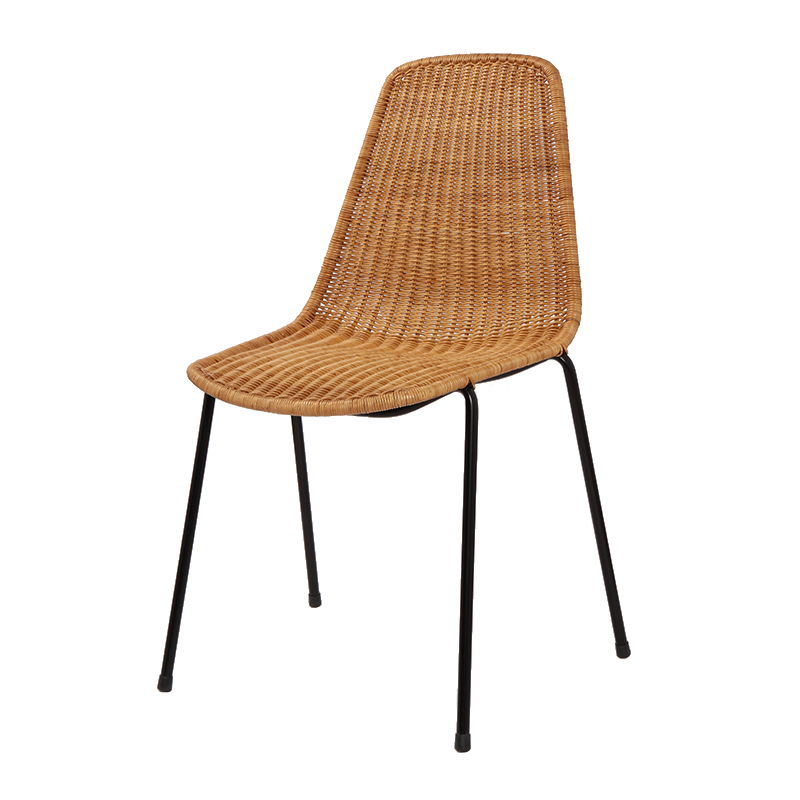 BASKET CHAIR BLACK FRAME NATURAL RATTAN