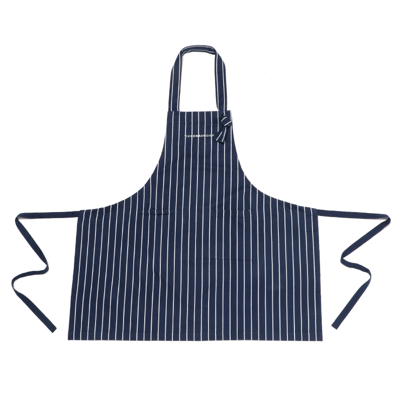 BUTCHER STRIPE APRON NAVY