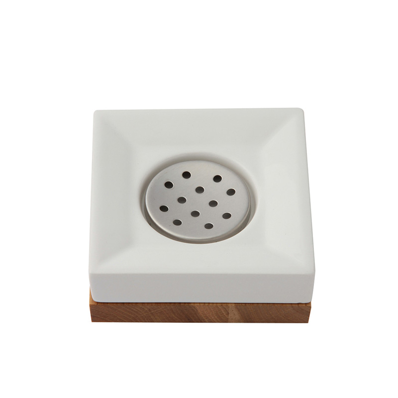 OAK WOOD/CERAMIC SQUARE SOAP DISH