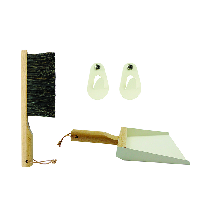 AJ/GIFTBOX H.BRUSH+DUSTPAN+2HOOKS WHITE