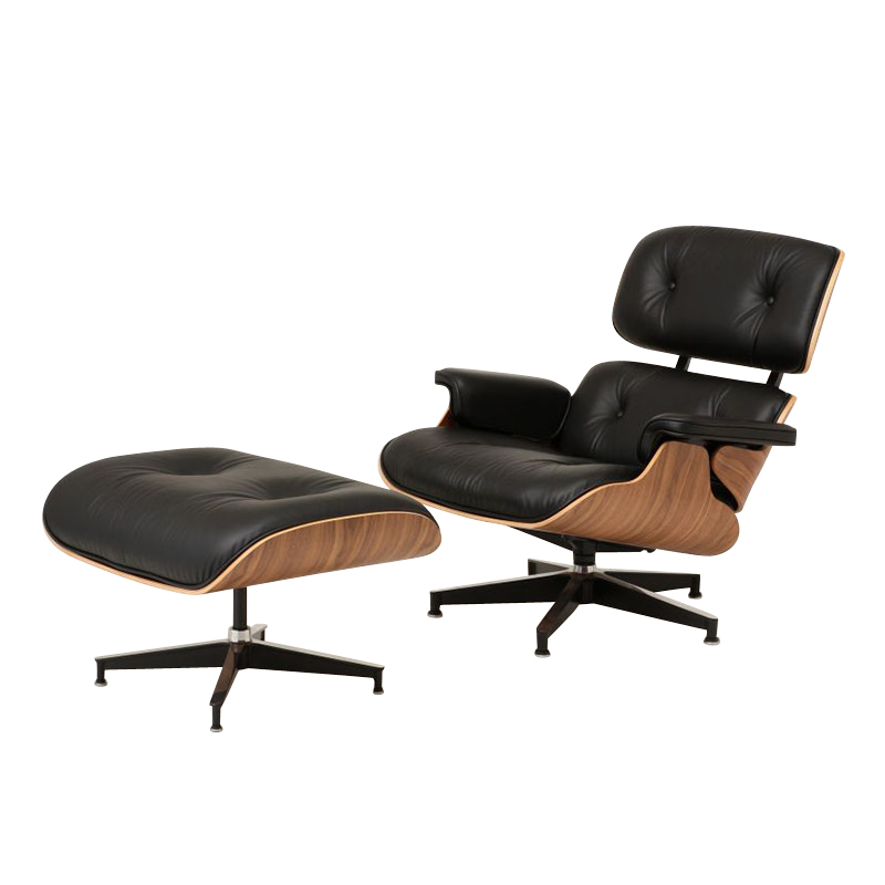 EAMES SET LOUNGE CHAIR/OTT BLK/WAL