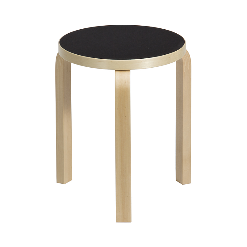 STOOL 60 BIRCH / BLACK LINOLEUM