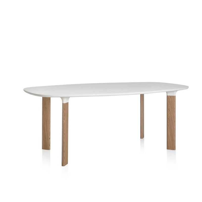 JH63 ANALOG TABLE W185 WHITE LAMINATE/WH OAK