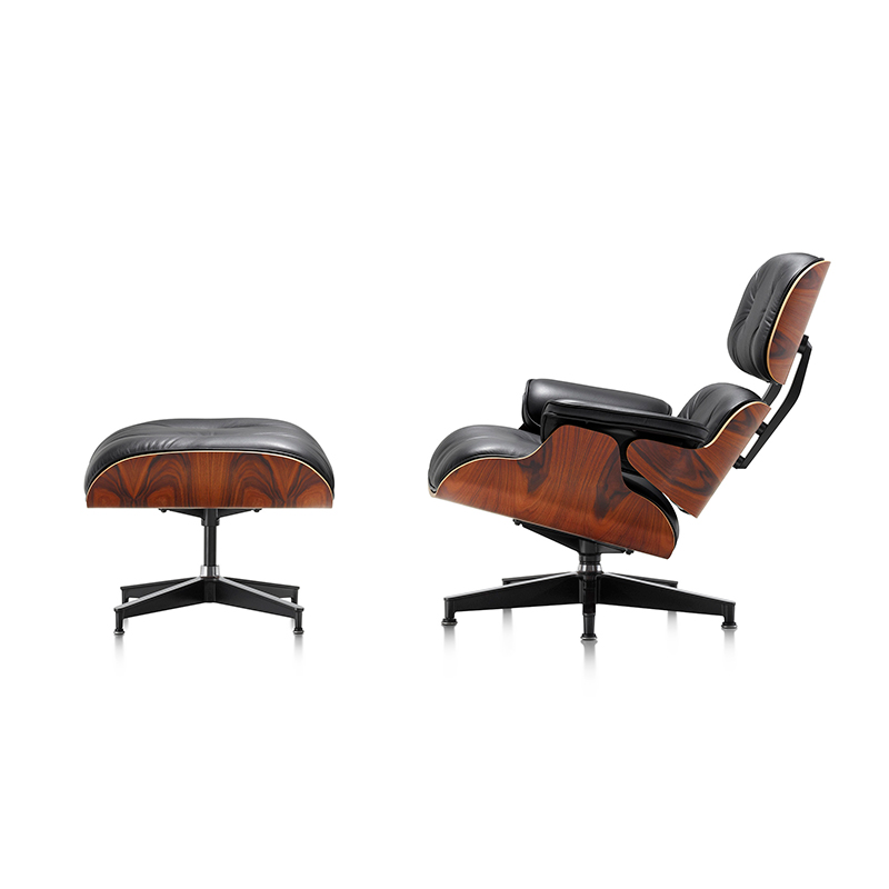 EAMES LOUNGE CHAIR AND OTTOMAN BLACK LEATHER / SANTOS PALISANDER