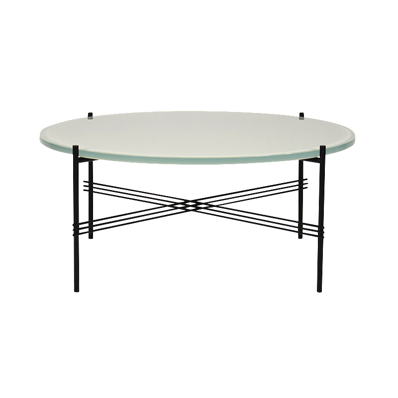 TS COFFEE TABLE O80 OYSTER WHT GLASS/BLK
