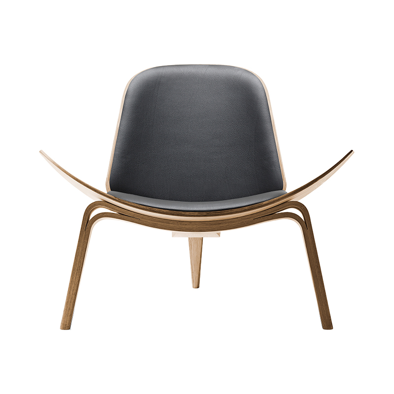 CH07 SHELL CHAIR OAK OIL THOR301 BLACK LEATHER