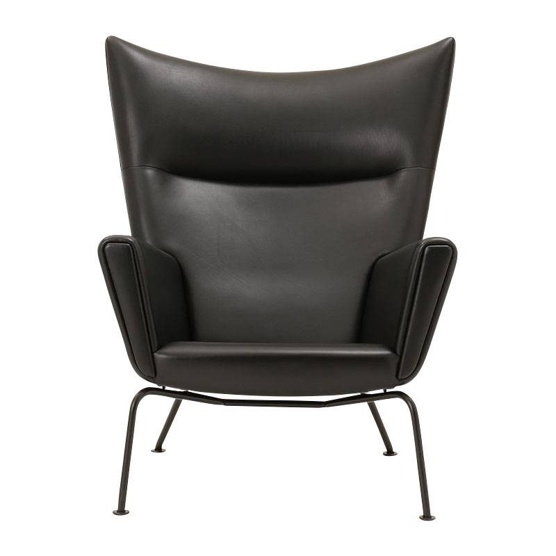 CH445 WING CHAIR BLACK/LEATHR C SIF98