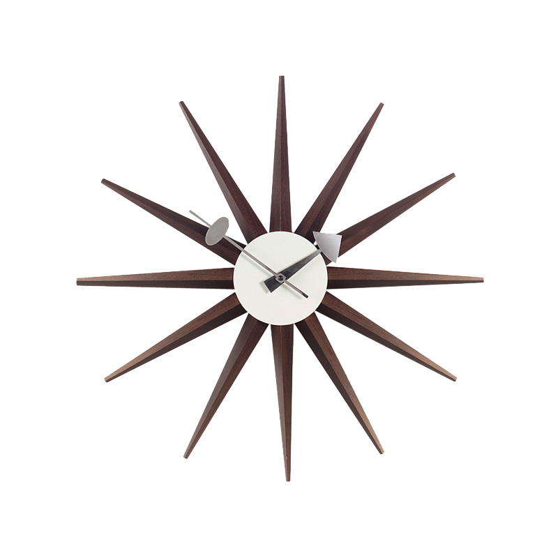 SUNBURST CLOCK WALNUT