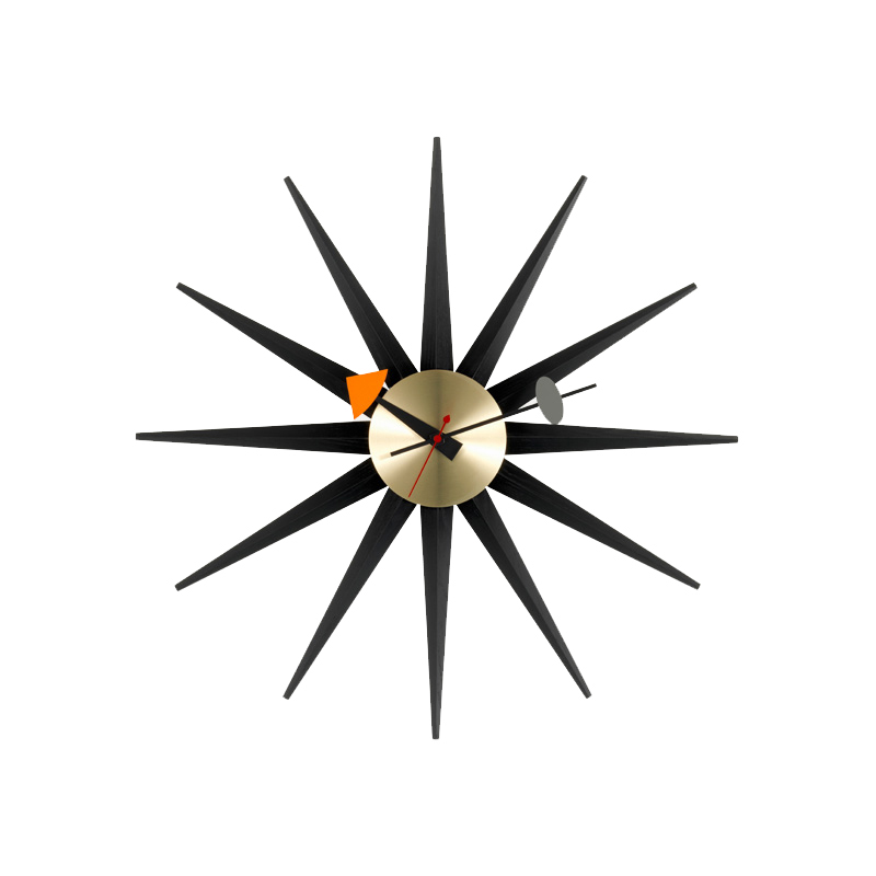 SUNBURST CLOCK BLACK