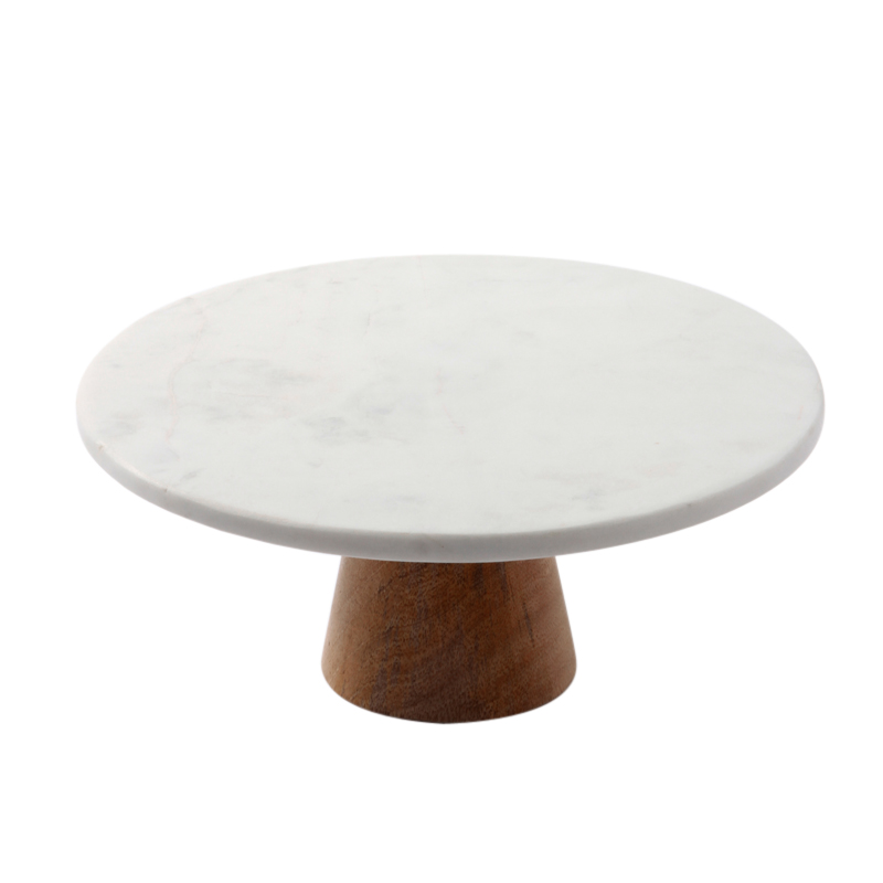 WHITE MARBLE TOP CAKE STAND WODDEN BASE