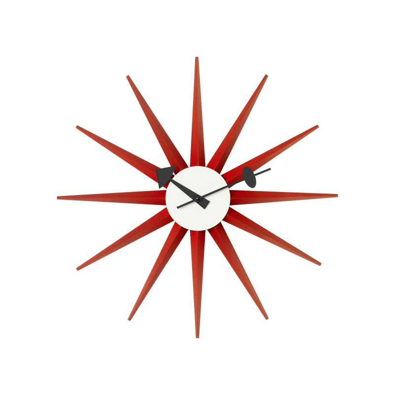 SUNBURST CLOCK RED