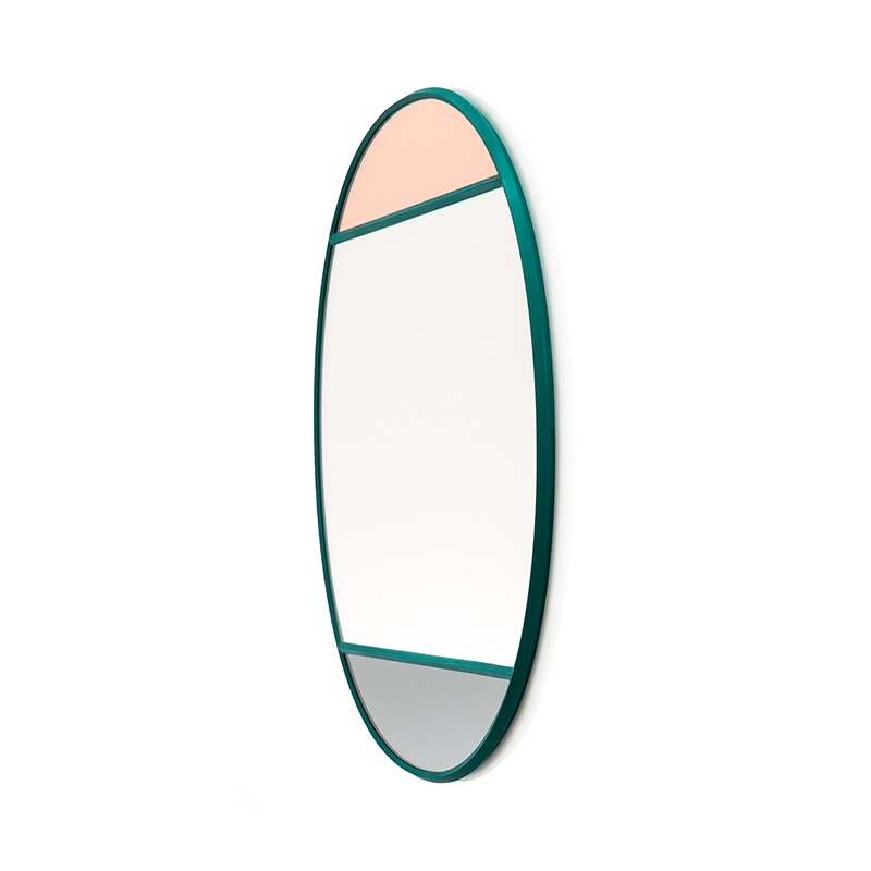 VITRAIL MIRROR OVAL 50X60 GREEN FRAME
