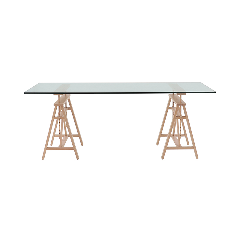 TEATRO TABLE GLASS/BEECH NATURAL