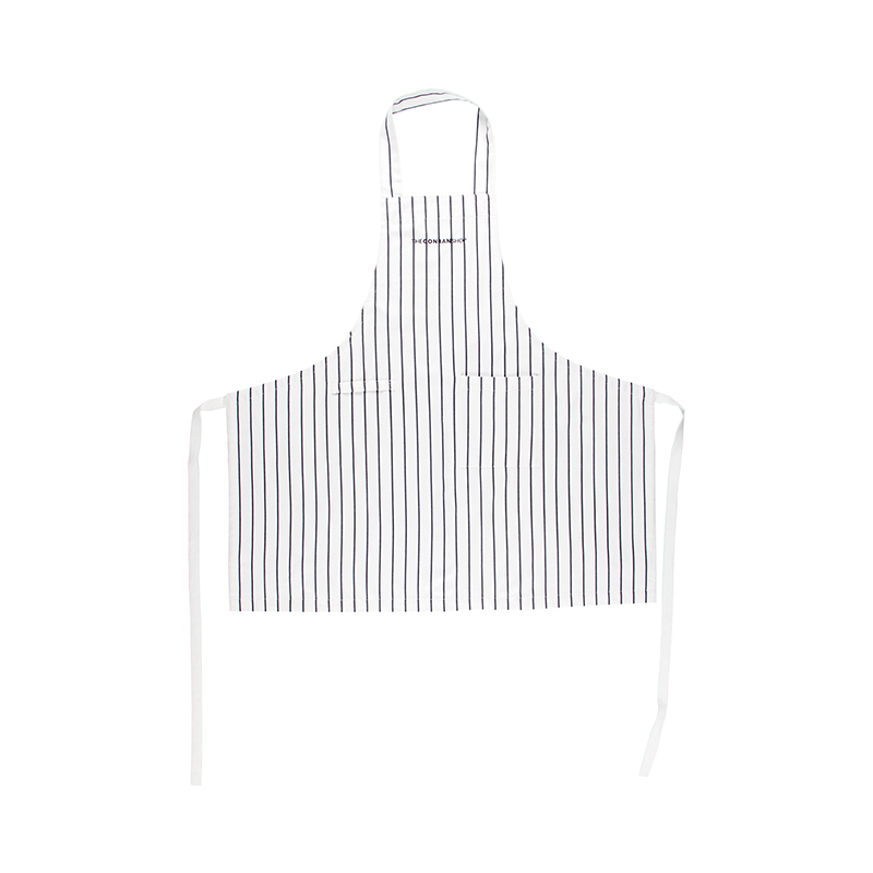 BUTCHER STRIPE APRON WHITE